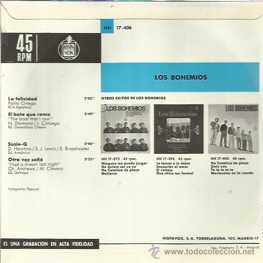 Discos de vinilo: LOS BOHEMIOS EP HISPAVOX la felicidad/ el bote que remo +2 BEAT GARAGE MOD - Foto 2 - 103378583