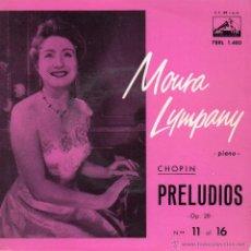 Discos de vinilo: MOURA LYMPANY - PIANO -, EP, PRELUDIOS CHOPIN + 3, AÑO 1963. Lote 46676478