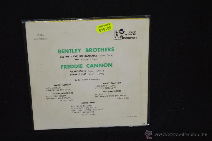 Discos de vinilo: BENTLEY BROTHERS / FREDDIE CANNON - YES WE HAVE NO BANANAS +3 - EP VINILO COLOR AZUL - Foto 2 - 46689235