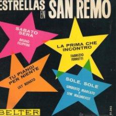 Disques de vinyle: ESTRELLAS EN SAN REMO 1964, EP, BRUNO FILIPPINI - SABATO SERA + 3, AÑO 1964. Lote 46715820