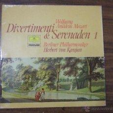 Discos de vinilo: DIVERTIMENTI & SERENADEN 1 WOLFGANG AMADEUS MOZART 1756-1791 HERBERT VON KARAJAN- BERLINER PHILHARMO. Lote 46731137