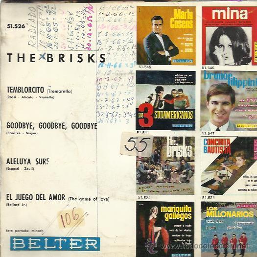 Discos de vinilo: THE BRISKS EP BELTER 1965 PROMO temblorcito/ goodbye/ aleluya surf / el juego del amor - Foto 2 - 46732201