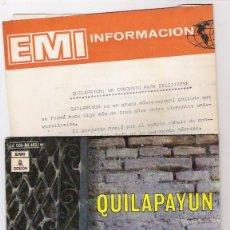 Discos de vinilo: QUILAPAYUN-EL CANTO DEL CUCULI- DOS PALOMITAS-SINGLE CON HOJA PROMOCIONAL-. Lote 46732477
