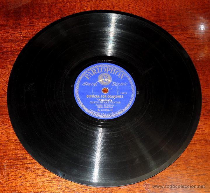 Discos de vinilo: CHATO DE LAS VENTAS, 75 RPM. PARLOPHON B. 25.638, ACOMP. DE GUITARRA NIÑO SABICAS, NO HAY QUE IR A S - Foto 2 - 46798222