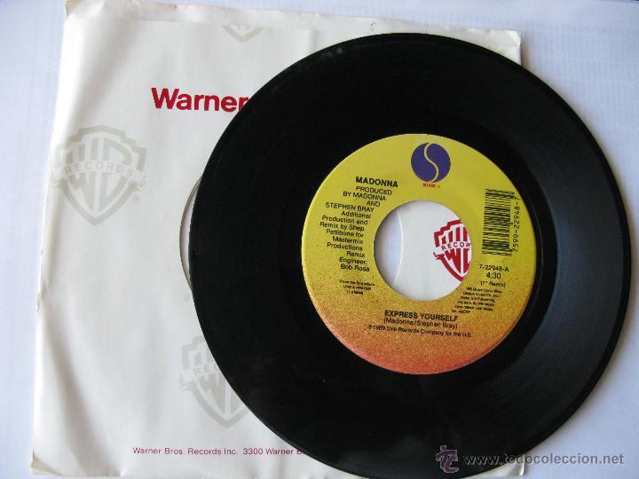 MADONNA. EXPRESS YOURSELF/THE LOOK OF LOVE. 1989 SINGLE U.S.A. SIRE RECORDS 7-22948 (Música - Discos - Singles Vinilo - Pop - Rock Extranjero de los 90 a la actualidad)