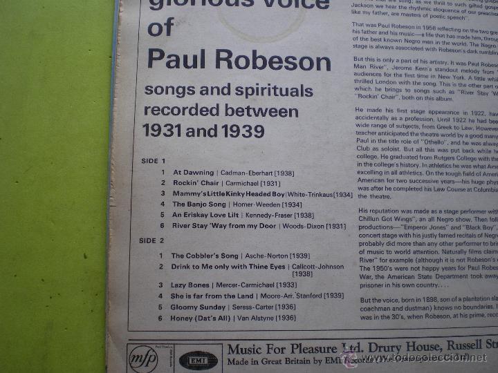 Discos de vinilo: PAUL ROBESON - THE GLORIOUS VOICE OF... - EDICION U.K. - MFP / EMI pepeto - Foto 2 - 46925832