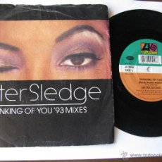 Discos de vinilo: SISTER SLEDGE. THINKING OF YOU (RAMP RADIO REMIX/ORIGINAL) SINGLE 1993 WEA. ATLANTIC. A 4515. Lote 46927396