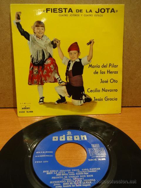 FIESTA DE LA JOTA. CUATRO JOTEROS Y CUATRO ESTILOS. EP ODEON 1961. MUY BUENA CALIDAD. ***/*** (Música - Discos de Vinilo - EPs - Country y Folk)