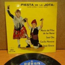 Discos de vinilo: FIESTA DE LA JOTA. CUATRO JOTEROS Y CUATRO ESTILOS. EP ODEON 1961. MUY BUENA CALIDAD. ***/***. Lote 38712530