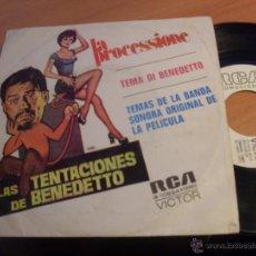 Discos de vinilo: LAS TENTACIONES DE BENEDETTO (LA PROCESSIONE) SINGLE PROMO 1973 ESPAÑA (EX/EX) (EP10). Lote 46945513