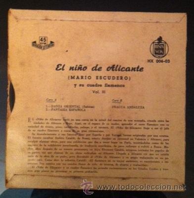 Discos de vinilo: MARIO ESCUDERO - EL NIÑO DE ALICANTE - 1959 - Foto 2 - 46945704