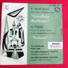 Discos de vinilo: P. MASCAGNI, G. VERDI - GLI ARANCI OLLEZZANO-FROM // CORO DI SCHIAVI EBREI. Lote 46968746