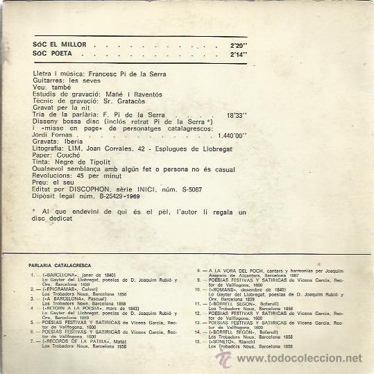 Discos de vinilo: FRANCESC PI DE LA SERRA Sg DISCOPHON 1969 soc el millor/ soc poeta - Foto 2 - 47052909
