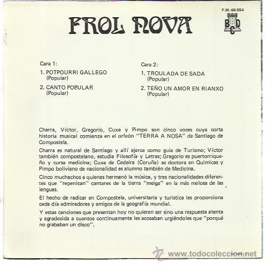 Discos de vinilo: FROL NOVA EP BCD 1971 potpourri gallego/ canto popular/ troulada de sada/ teño un amor en rianxo - Foto 2 - 47068304