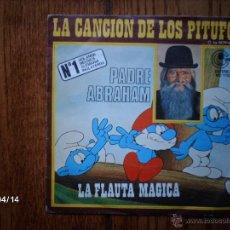 Discos de vinilo: PADRE ABRAHAM - LA CANCIÓN DE LOS PITUFOS + LA FLAUTA MÁGICA . Lote 47105784