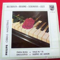 Discos de vinilo: TEMAS FAVORITOS - PARA ELISA (BEETHOVEN) / VALS N.º 15 (BRAHMS) / ENSUEÑO (SCHUMANN / SUEÑO DE AMOR . Lote 47138308