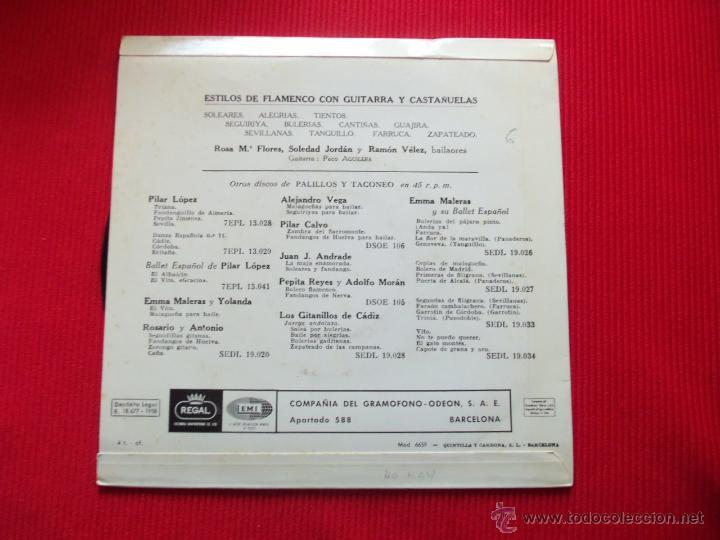 Discos de vinilo: ESTILOS DE FLAMENCO CON GUITARRA Y CASTAÑUELAS - SOLEARES / ALEGRÍAS / TIENTOS / SEGUIRIYA / BULERÍA - Foto 2 - 47139299