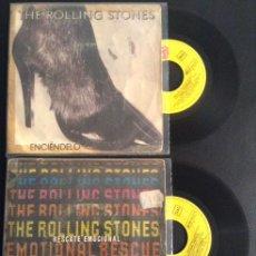 Discos de vinilo: LOTE SINGLE EP VINILO THE ROLLING STONES ENCIENDELO Y RESCATE EMOCIONAL. Lote 47144266