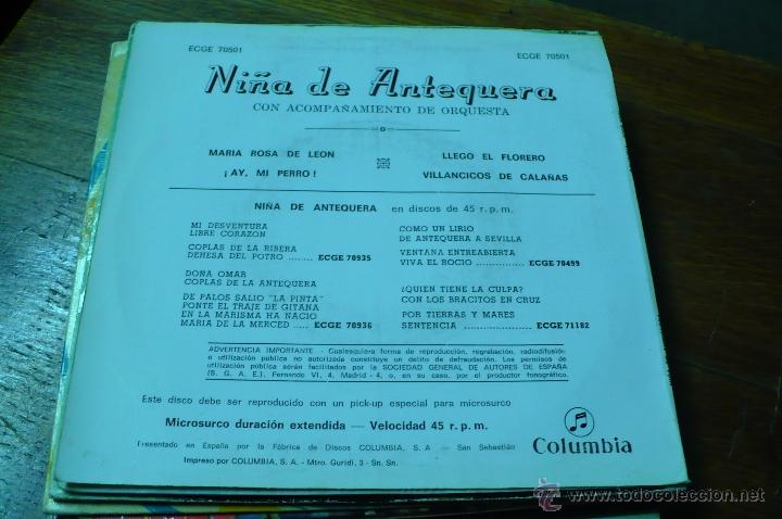 Discos de vinilo: niña de antequera / maria rosa de leon / ay mi perro / llego el florero / villancicos de calañas. - Foto 2 - 47157705