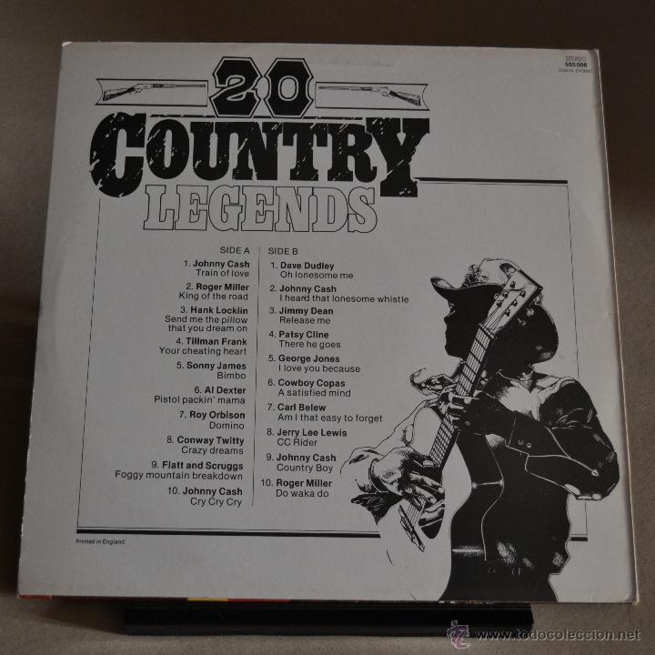 Discos de vinilo: 20 COUNTRY LEGENDS. BLACK TULIP. EDICION INGLESA. SIN FECHA. LITERACOMIC. - Foto 2 - 47157049