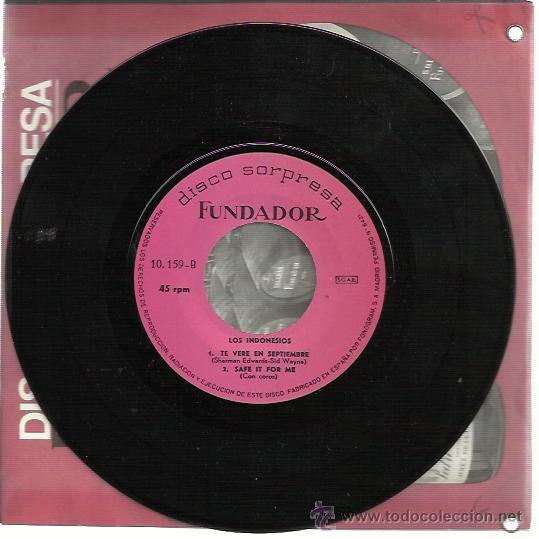 LOS INDONESIOS EP FUNDADOR 1968 TE VERE EN SEPTIEMBRE/ SAFE IT FOR ME +2 GARAGE BEAT MOD (Música - Discos de Vinilo - EPs - Grupos Españoles 50 y 60)