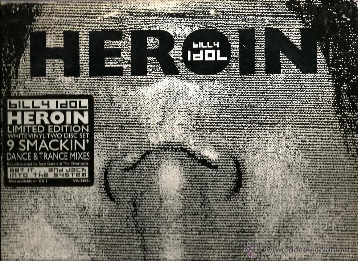MAXI BILLY IDOL : HEROIN (LIMITED EDITION WHITE VINYL 2 DISC SET - 9 SMACKIN DANCE & TRANCE MIXES (Música - Discos de Vinilo - Maxi Singles - Disco y Dance)