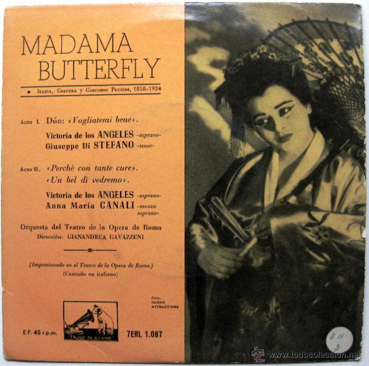 VICTORIA DE LOS ANGELES (1A VERSION 1954) - MADAMA BUTTERFLY - EP LA VOZ DE SU AMO 1958 BPY (Música - Discos de Vinilo - EPs - Clásica, Ópera, Zarzuela y Marchas)
