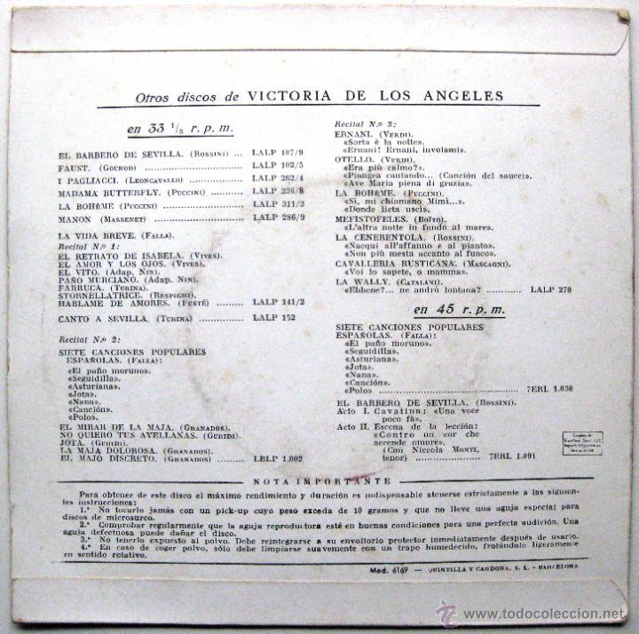 Discos de vinilo: Victoria De Los Angeles (1a Version 1954) - Madama Butterfly - EP La Voz De Su Amo 1958 BPY - Foto 2 - 47254646