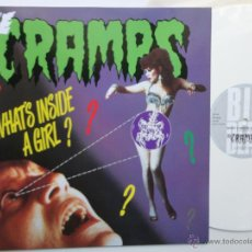Discos de vinilo: THE CRAMPS - WHAT´S INSIDE A GIRL? +2 - UK MAXI SINGLE 1986- WHITE VINYL- RARE- COMO NUEVO.. Lote 47259978