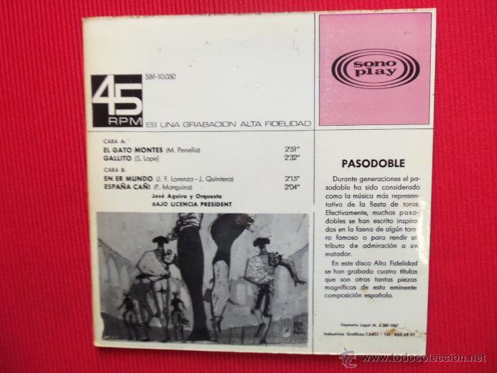 Discos de vinilo: PASODOBLES - JOSÉ AGUIRA Y ORQUESTA - Foto 2 - 47319211