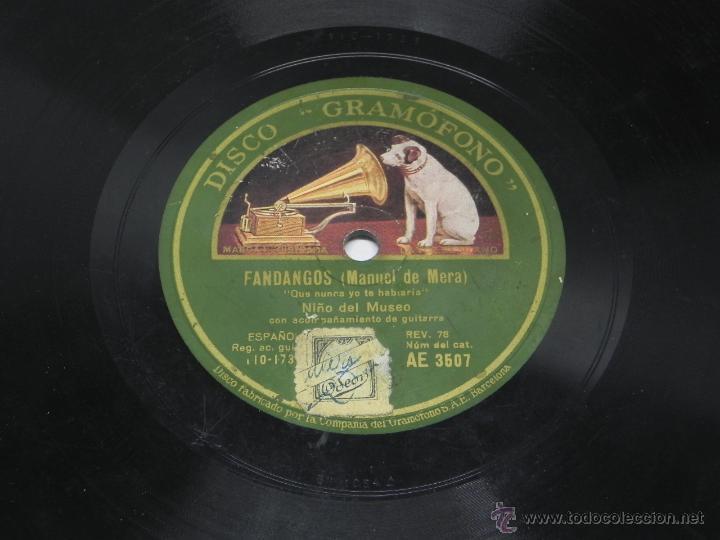 Discos de vinilo: DISCO DE PIZARRA NIÑO DEL MUSEO, FANDANGOS (MANUEL DE MERA), CON ACOMPAÑAMIENTO DE GUITARRA, AE 3507 - Foto 3 - 47321893