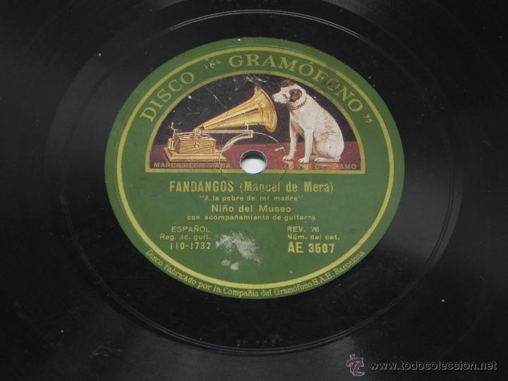 Discos de vinilo: DISCO DE PIZARRA NIÑO DEL MUSEO, FANDANGOS (MANUEL DE MERA), CON ACOMPAÑAMIENTO DE GUITARRA, AE 3507 - Foto 4 - 47321893