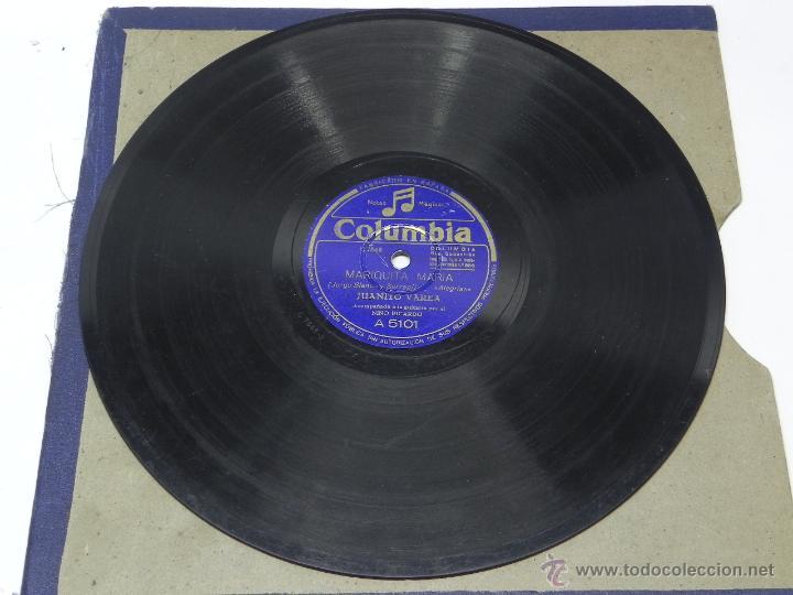 Discos de vinilo: DISCO DE PIZARRA JUANITO VAREA, ACOMPAÑADO A LA GUITARRA POR EL NIÑO RICARDO, YA EL SERENO SE DORMIA - Foto 2 - 47322132