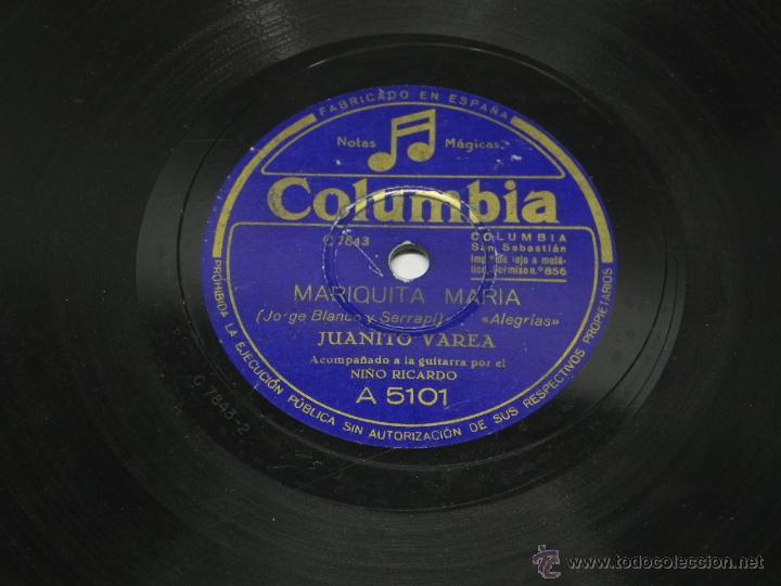 Discos de vinilo: DISCO DE PIZARRA JUANITO VAREA, ACOMPAÑADO A LA GUITARRA POR EL NIÑO RICARDO, YA EL SERENO SE DORMIA - Foto 4 - 47322132
