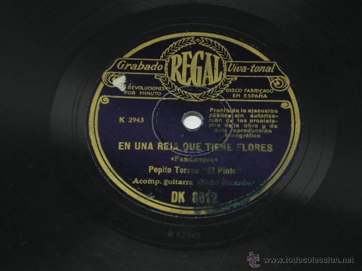 Discos de vinilo: DISCO DE PIZARRA DE PEPITO TORRE EL PINTO, ACOMP. DE LA GUITARRA POR EL NIÑO RICARDO, EN UNA REJA QU - Foto 4 - 47322322