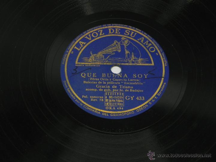 Discos de vinilo: Disco de pizarra de Gracia de Triana, Guitarra Manolo de Badajoz, Qué Buena Soy (Película Escuadrill - Foto 2 - 47335275