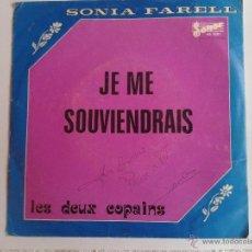 Discos de vinilo: SONIA FARELL DISCO DE VINILO SINGLE SONOR MUSIC CON AUTOGRAFO INCLUIDO EN LA PORTADA. Lote 47354460