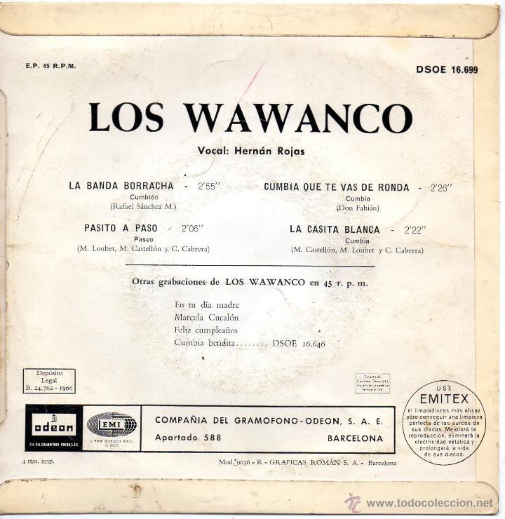Discos de vinilo: WAWANCO, LOS, EP, LA BANDA BORRACHA + 3, AÑO 1966 - Foto 2 - 47385438