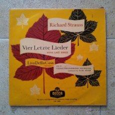 Discos de vinilo: DISCO RICHARD STRAUSS, VIER LETZTE LIEDER, LISA DELLA CASA, VIENNA PHILHARMONIC ORHESTRA. DECCA.. Lote 47411493