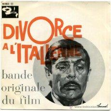 Discos de vinilo: CARLO RUSTICHELLI - DIVORCE À L'ITALIENNE (BANDE ORIGINALE DU FILM) - EP FRANCE 1962 - BARCLAY 70463. Lote 47415469