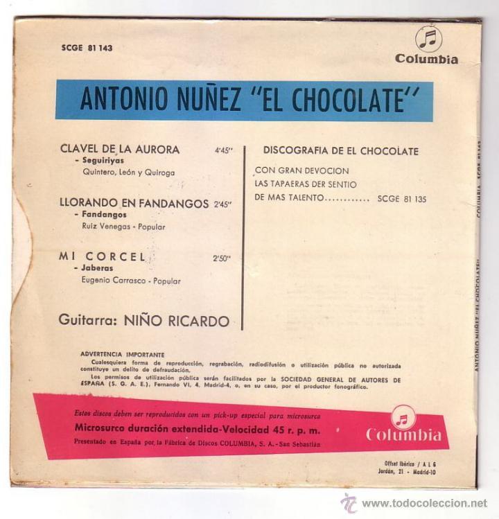 Discos de vinilo: Antonio Nuñez ( El chocolate ).EP.Columbia.1966 - Foto 2 - 47425575