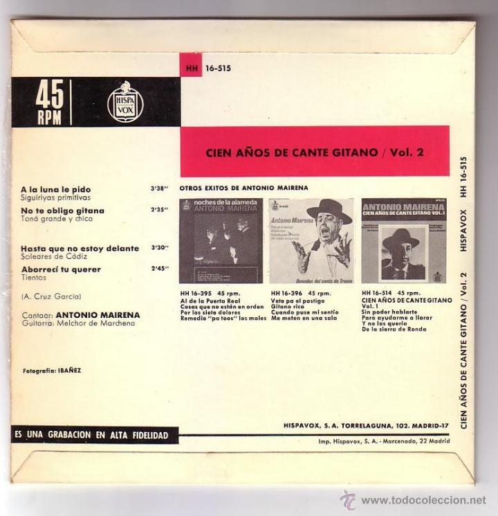 Discos de vinilo: Antonio Mairena.EP.Hispavox.Año 1965 - Foto 2 - 47476999