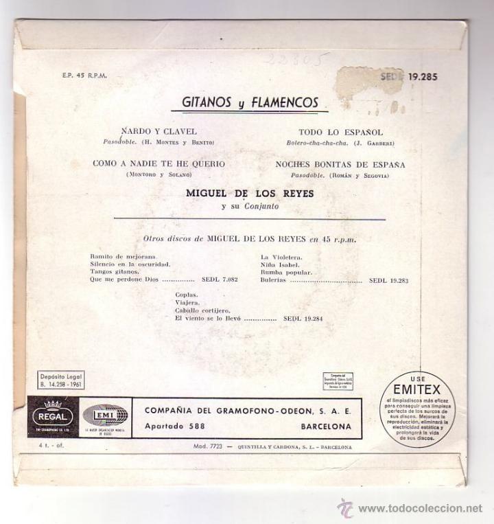 Discos de vinilo: Miguel de los Reyes.EP.REGAl.Año 1961 - Foto 2 - 47477043