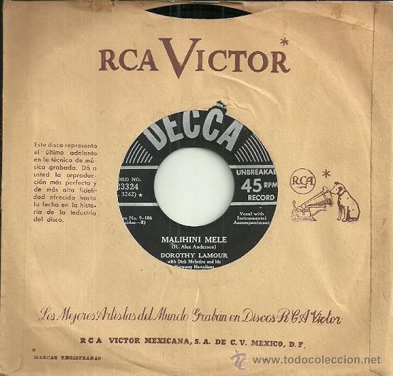 Discos de vinilo: DOROTHY LAMOUR SINGLE SELLO DECCA EDITADO EN USA - Foto 2 - 47496621