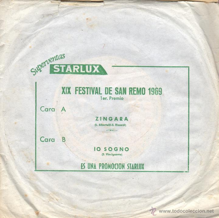 DISCO SINGLE XIX FESTIVAL DE SAN REMO 1969 - PUBLICIDAD STARLUX - ZINGARA (Música - Discos - Singles Vinilo - Otros Festivales de la Canción)