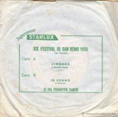 Discos de vinilo: DISCO SINGLE XIX FESTIVAL DE SAN REMO 1969 - PUBLICIDAD STARLUX - ZINGARA. Lote 47510042