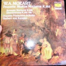 Discos de vinilo: W.A..MOZART PEQUEÑA MÚSICA NOCTURNA K.525 / DEUTSCHE GRAMMOPHON PRIVILEGE / LP 1980 / KARAJAN. Lote 47583562