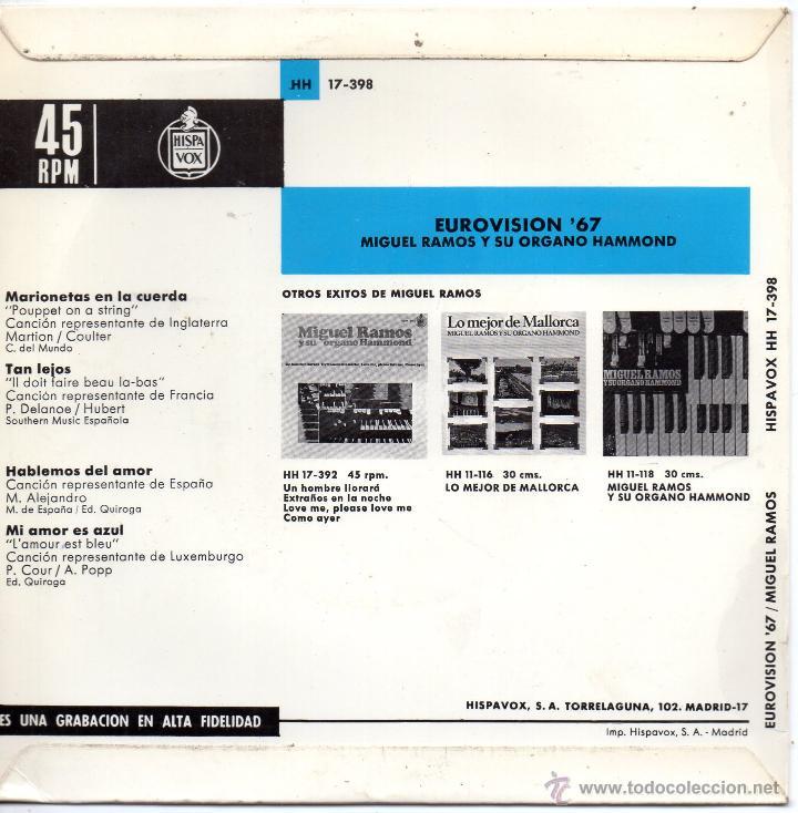 Discos de vinilo: MIGUEL RAMOS y su Organo Hammond - FESTIVAL EUROVISION 67, EP, MARIONETAS EN LA CUERDA + 3, AÑO 1967 - Foto 2 - 47609449