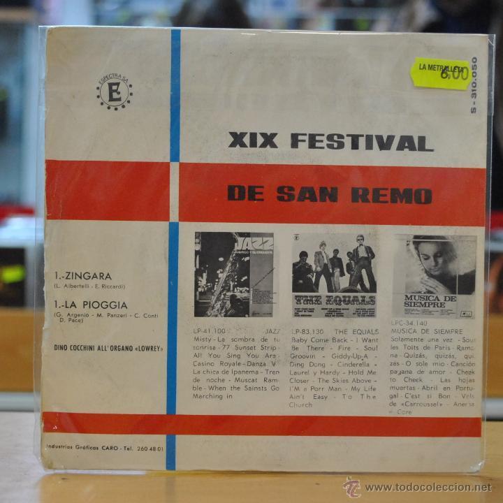 Discos de vinilo: DINO COCCHINI - ZINGARA - XIX FESTIVAL DE SAN REMO - SINGLE - Foto 2 - 47692048