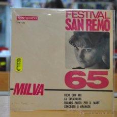 Discos de vinilo: MILVA - VIENI CON NOI - SAN REMO '65 - + 3 - EP. Lote 47692079